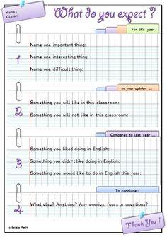 Fiche de début d'année - premier homework tous niveaux. Inspiré de http://monecole.fr/rentree/rentree-attentes-de-lannee