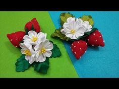 Strawberry of ribbons/ Summer hair ornament / Клубничка из Лент/ Летние украшения для Волос / - YouTube