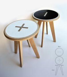 Plus / minus stool side table by Foreply on Etsy, $99.00