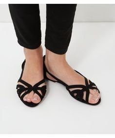 Wide Fit Black Strappy Pumps    New Look