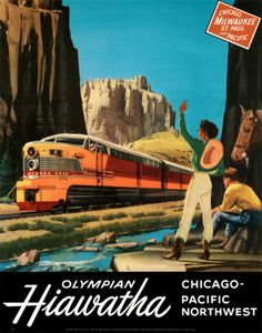 Vintage travel poster - USA - Chicago / Pacific Northwest