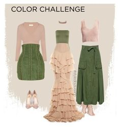 """""""#colorchallenge #blushandgreen"""" by styledbysusanp ❤ liked on Polyvore featuring Nly Shoes, Marissa Webb, WearAll, Balmain, Semilla, Sans Souci and River Island"""