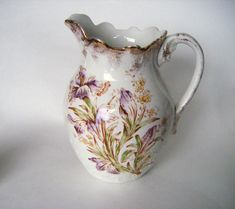 Antique 1800s Warwick China Pitcher Handpainted With by parkledge