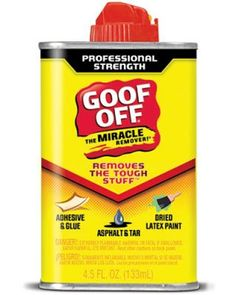 """Marguerite Rodgers:     """"I keep Goof Off stain remover spray in my personal toolbox. I use it to get makeup off my daughter's vanity when she plays dress-up, to get rid of scuff marks from wood floors, and to remove labels, tape, and decals. It also cleans candle wax from candlesticks and table surfaces."""" Goof Off remover, left; goofoffstainremover.com.    Credit: © WM Barr & Co."""