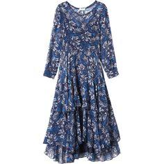 Rebecca Taylor Long Sleeve Mystic Garden Chiffon Dress ($550) ❤ liked on Polyvore featuring dresses, navy combo, blue dress, navy blue slip, long sleeve floral dress, floral midi dress and chiffon dress
