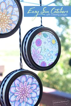 Easy crafts For Seniors - Easy Sun Catchers with Coloring Pages Kids Crafts, Quick Crafts, Crafts For Seniors, July Crafts, Arts And Crafts Projects, Crafts For Teens, Crafts To Do, Diy Projects, Senior Crafts