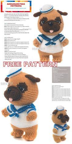 Crochet Bikini Pattern, Crochet Amigurumi Free Patterns, Crochet Animal Patterns, Stuffed Animal Patterns, Crochet Animal Amigurumi, Crochet Toys, Pug, Chenille, Crochet Projects
