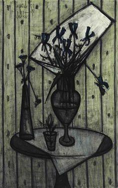 Bernard Buffet - Irises bleus; Creation Date: 1955; Medium: oil on canvas; Dimensions: 45.75 X 29 in (116.2 X 73.66 cm)