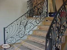 custom stairs   Custom Stairs with Iron Panels during Construction