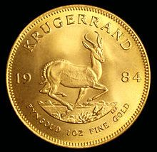 One Ounce Gold South African Krugerrand (Reverse). The reverse depicts a springbok, one of the national symbols of South Africa. Gold Coin Values, Gold And Silver Coins, National Symbols, Out Of Africa, Gold Bullion, World Coins, Rare Coins, My Land, African History