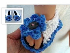 HOW TO CROCHET BABY SANDALS (blue and white) - YouTube