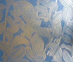 Solomon's Seal Gold Wallpaper  Marthe Armitage  Hand blockprinted wallpaper made in the London studio, Sigmar
