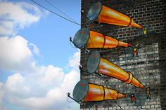 Antenna Telescopes on the streets of Digbeth, Birmingham, UK photographed by Davyd Samuels and Adrian Taylor (artist unknown)
