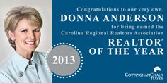 Congrats to our very own Donna Anderson who was named the 2013 CRRA Realtor of the Year! #charlottenc #congrats