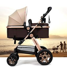 Cynebaby Newborn Baby Stroller for Infant and Toddler City Select Folding Convertible Baby Carriage Luxury High View Anti-shock Infant Pram Stroller with Cup Holder and Rubber Wheels (Lycra Gold)