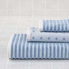 Organic Jacquard Bath Towel (Blue Stripe)