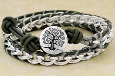 Tree of Life Lashed Chain & Leather Wrap Bracelet - DIY from the Rings &Things blog