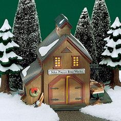 "New England - ""Pierce Boat Works"" - Christmas Village Display, Christmas Villages, Christmas Home, England Christmas, Christmas Decor, Community Places, Tiny House Community, Villas, Light Building"