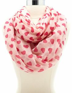 Heart Print Infinity Scarf: Charlotte Russe