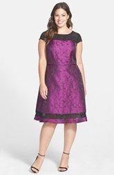 Adrianna Papell Chiffon Inset Jacquard Fit & Flare Dress (Plus Size)