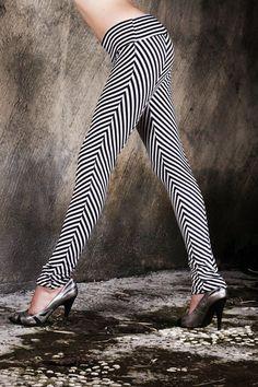 Chevron Leggings - Black and White Stripe Leggings - Organic Cotton Leggings