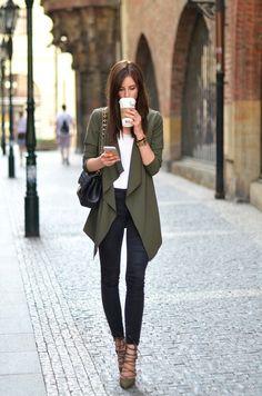 21 long drape khaki cardigan and lace up shoes make a cool fall statement…