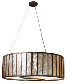 Sustainable Shell Affinity Drum Pendant - Five Light New Bronze : 169VN | Living Lighting on King