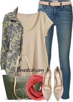 Camo jacket casual spring outfit polyvore