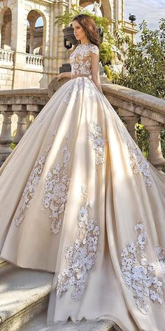 Gorgeous Floral Applique Wedding Dresses Trend For Charming Ball Gown Wedding Go. Gorgeous Floral Applique Wedding Dresses Trend For Charming Ball Gown Wedding Gowns, Champagne Wedding Dresses - Wedding Dress Trends, Dream Wedding Dresses, Wedding Attire, Bridal Dresses, Wedding Gowns, Wedding Ideas, Ball Dresses, Bridesmaid Dresses, Wedding Ceremony