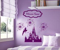 Disney Personalized Castle Fireworks Tinkerbell Fairy vinyl wall decall sticker room decor. $23.99, via Etsy.