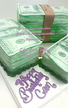 A custom cake for someone special who's all about the money. Happy birthday Cam!   #ejssweets #ejssweets1 #cakesinmcdonough #customcakes #cakelady #cake #instalike #instayummy #instacake #instabaker #ibake #cakebaker #ilovecake #sweettreats #sweetthooth #sweets #bestcustomers #lovewhatido #ediblepaper #edibleimage #ediblepicture #creamcheesefrosting #money #moneycake #moneystacks #100bill