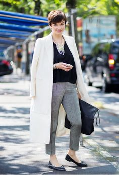 Cropped trousers, white coat, and ballet flats // #streetstyle