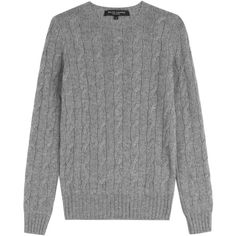 Ralph Lauren Black Label Cashmere Pullover ($370) ❤ liked on Polyvore featuring tops, sweaters, shirts, jumper, grey, cable knit sweaters, grey shirt, gray long sleeve shirt, cable-knit sweater and long sleeve shirts