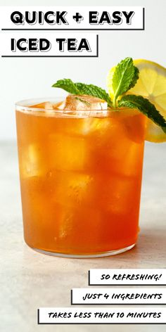 Want a super quick iced tea recipe that takes less than 10 minutes to make? An easy recipe that makes 2 quarts of perfect iced tea each and every time. Peach Ice Tea, Ice Lemon Tea, Iced Tea Recipes, Drink Recipes, Bubble Milk Tea, Breakfast Tea, Wedding Breakfast, Tea Sandwiches, Best Tea