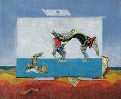 Max Ernst (Brühl 1891-Parigi /Paris1976), Loplop presenta la bella stagione [Loplop présente la Belle Saison]/Loplop Introduces the Beautiful Season, 1930 c | olio su tela/Oil on canvas, cm 38 x 46 | Thyssen-Bornemisza Collections, inv. 1977.107