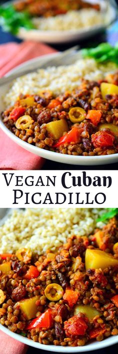 This vegan picadillo recipe is a delicious and colourful Cuban-style dish of spiced lentils, potatoes, tomatoes, olives and raisins. Served with rice, it's quick and easy to prepare for a weeknight dinner and the warming spices of cinnamon, cumin, cloves and nutmeg make it a comforting and hearty meal for chilly weather. Recipes With Lentils Vegan, Vegan Recipes With Potatoes, Recipes With Olives, Healthy Lentil Recipes, Lentil Meals, Lentils And Rice, Lentil Dishes, Olive Recipes, Green Lentils