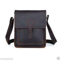 "Leather Messenger Bag, Satchel for Men & Women. 10"" x 8"" x 2"""