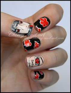 Itachi Uchiha Nails ~ I have done the Akatsuki print on all of my nails, I really loved it. ^^