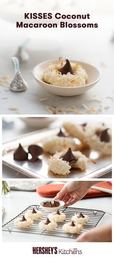 We love this creative twist on a classic: KISSES Coconut Macaroon Blossoms. This is a total original made with MOUNDS Sweetened Coconut Flakes and HERSHEY'S KISSES Brand Milk Chocolates. Add major flavor and texture to a Christmas cookie favorite. Köstliche Desserts, Delicious Desserts, Dessert Recipes, Yummy Food, Yummy Treats, Sweet Treats, Macaroon Cookies, Kiss Cookies, Hershey's Kisses