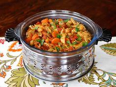 Chicken Chickpea Stew, a healthy, savory stew recipe with dark meat chicken, schmaltz, garbanzo beans, tomatoes, carrots, spices. Kosher, Tagine.