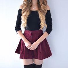 Lisa Button Skirt - Maroon – MANGO RABBIT