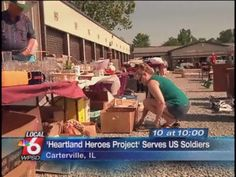 A local organization hosts a community wide yard sale to raise money to provide care packages for US soldiers.