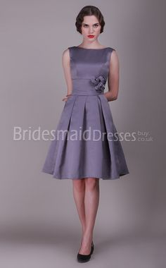 Silver Satin Princess Bateau Knee-length dress