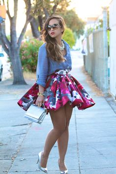 "denim shirt, floral pleated full flared midi skirt #curvy #thick  ""if you follow…"