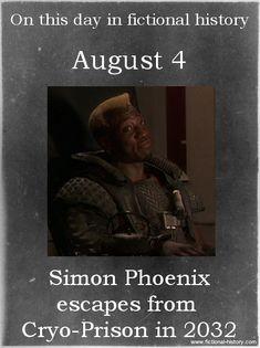 Simon Phoenix escapes from Cryo-Prison in 2032. (Source)