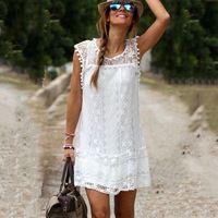 New Casual White Loose Lace Dress O-neck Sleeveless Crochet Small Ball Mini Straight Dresses