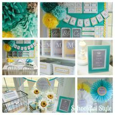 Different shades of teal/turquoise and yellow__Classroom Couture Collection - Sunny Skies