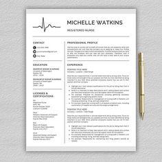 Nurse Resume Template for Word / Medical Resume | Nurse CV | RN Resume | Doctor Resume | Doctor CV |
