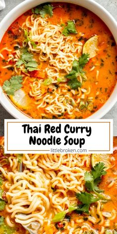 Easy Thai noodle soup with sweet and spicy broth, ramen noodles, and fresh lime juice. It's such a flavorful and quick soup to make! Veggie Soup Recipes, Meatless Recipes, Quick Dinner Recipes, Healthy Recipes, Curry Noodles, Thai Noodles, Spicy Thai Soup, Thai Noodle Soups, Asian Bowls