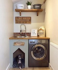 87 a dream laundry room makeover 17 Tiny Laundry Rooms, Laundry Room Layouts, Laundry Room Organization, Built In Dog Bed, Küchen Design, House Design, Design Ideas, Clever Design, Design Inspiration